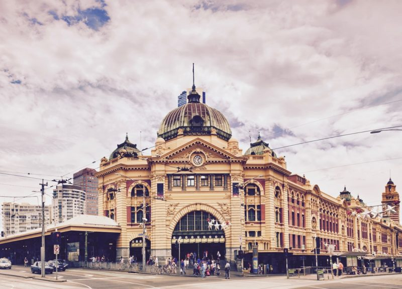 Melbourne cit'sy historic building- Flinders station built of yellow sandstone in colonial victorian style